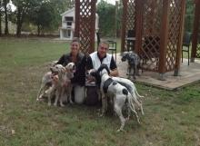 Ospiti che si divertono nel parco dell'agriturismo con i loro cani