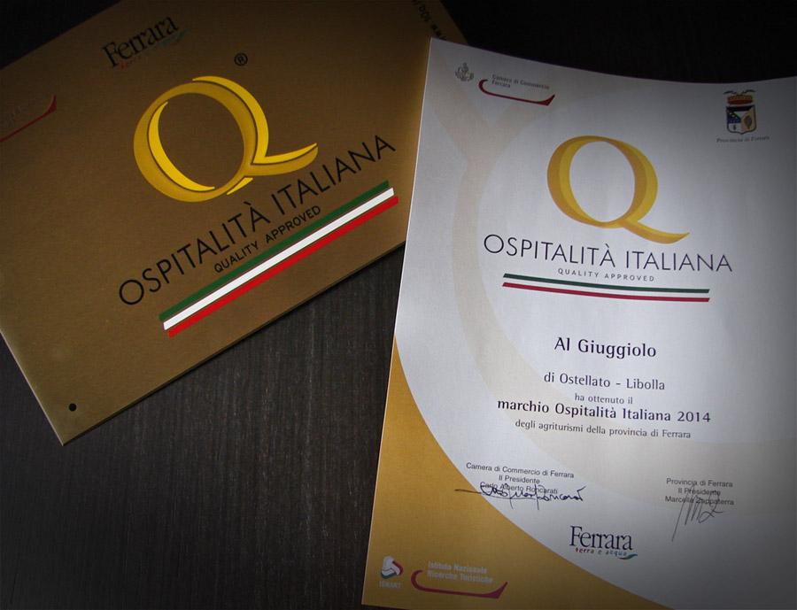 Targa e Attestato Ospitalità Italiana 2014